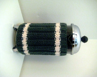 French Press Coffee Cozy  Deep Sage Green  Sweater Stripes