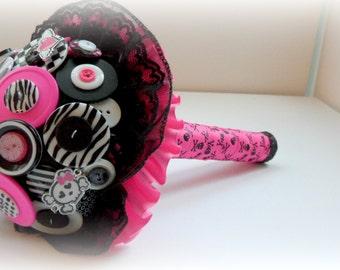 Rock'n Pink Button Bouquet