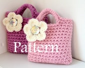 CROCHET PATTERN - Little Girls flower Purse with shell button - Listing90