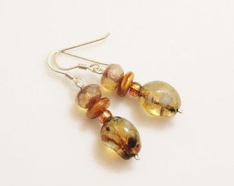 Brown Czech Glass Earrings With Sterling Silver Ear Wires