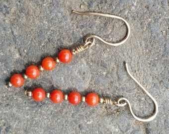 Coral Earrings, red, handcrafted gold fill ear wires (#595)