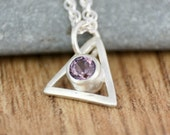 Spinel Silver Triangle Necklace, Geometric Pendant, One of a Kind, Ready to Ship, 18 inch Spiga Chain, Recycled, Eco, Ethical, OOAK