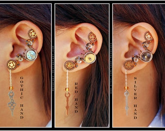 Steampunk Clock Hand ear cuff