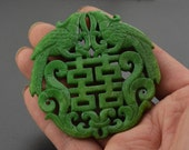 Unique Antique Style Large Carved Green Jade Pendant Double lucky 66mm Gemstone bead Amulet Talisman Jade Pendant  Double face corved
