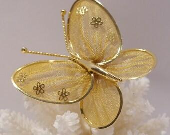 Gold Mesh Butterfly Brooch