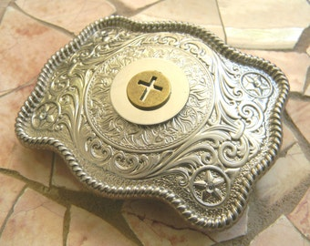 Cross Silver Belt Buckle, Custom Baptism Confirmation Christian Gift Belt Buckle,Rhinestone Womens Mens Kids Western Belt Buckle,