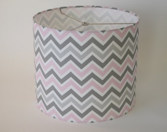 Lamp Shade Chevron Drum Lampshade Pendant in Pink and Grey OR Blue and Grey