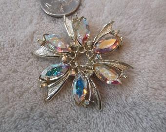 Vintage Pin--Marquise Cut Aurora Borealis Crystal Rhinestone Flower-P2501