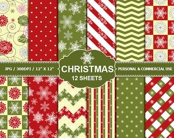 70% OFF SALE 12 Christmas Digital Scrapbook Paper, digital paper patterns for card making, invitations, scrapbooking