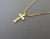 Gold cross necklace - Hammered  high quality gold cross pendant.