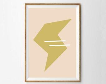 Retro Modern Lightning Bolt Wall Art Print |  Midcentury Modern Bolt Print | Girls Room Wall Art Poster | Pink & Gold / Mustard