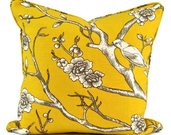 Pillow Cover - Dwell Studio Vintage Blossom Bird - Citrine   - SAME fabric both sides - Pick Your Size