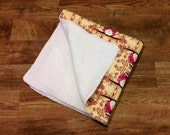 White Chenille Quilted Baby Blanket, Yellow with Pink Opal Owls by Tina Givens