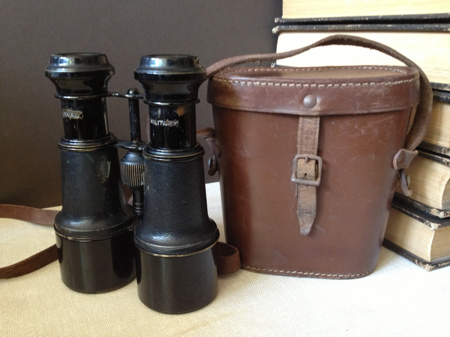 antique french military leather binoculars      leather case