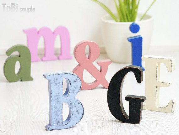 Home Decor Wall Letters : Wooden letters home decor wall shelf shabby chic