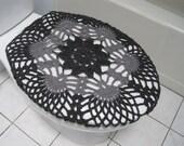Crochet Toilet Seat Cover - dark grey/true grey (TSC9F)