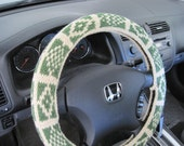 Knit Steering Wheel Cover/Cozy - oatmeal/medium thyme (KSWC3H)