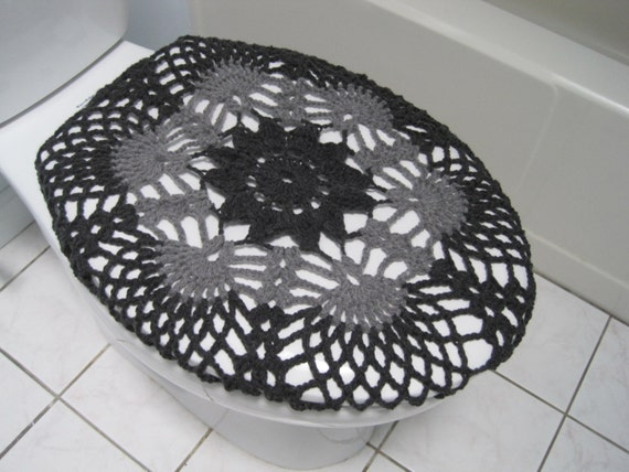 Crochet Toilet Seat Cover Dark Grey True Grey TSC9F By Ytang