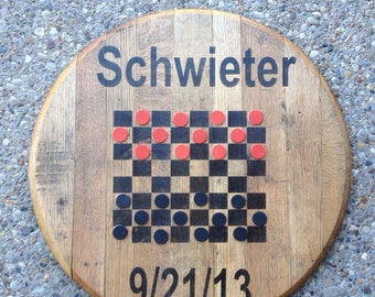 Makers Mark Bourbon Barrel Head Lid Checkers Game