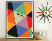 Geometric Wall Art, Harlequin, abstract geometric print, Paul Klee quote, Retro Art