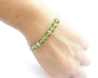 Natural Gemstone Peridot AA Grade 6.5mm Round Bead 925 Sterling Silver Bracelet