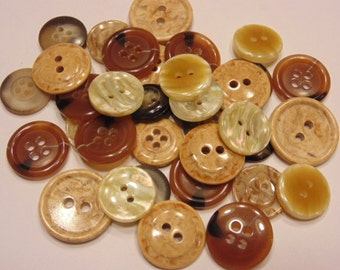 36 piece earth tone  button mix, 13-20 mm (B5)