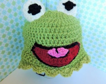 Free Crochet Pattern For Kermit The Frog Hat : Kermit The Frog Crochet Hat