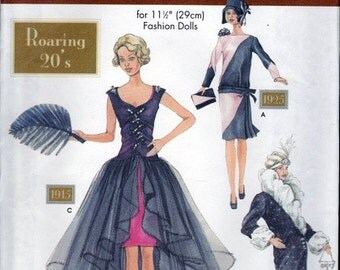 Doll Collectors Club - Roaring 20s - Simplicity Pattern 9664 for Vintage Style Doll Clothes - For 11.5 inch Dolls - Historical Dress