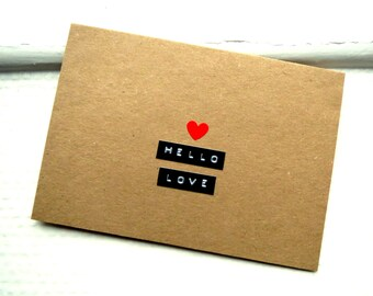 Valentines Day Card - HELLO LOVE Card  -  Card For Girlfriend / Wife / Daughter