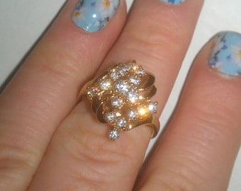 925 Sterling Silver and Design with Rhinestone Ring