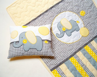 Elephant Blanket in grey, yellow and white, Elephant Pillowcase