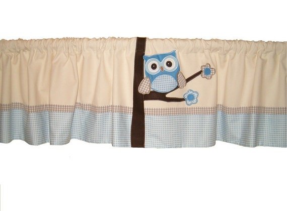 Window Valance  owl curtain  kids room valance  baby room valance