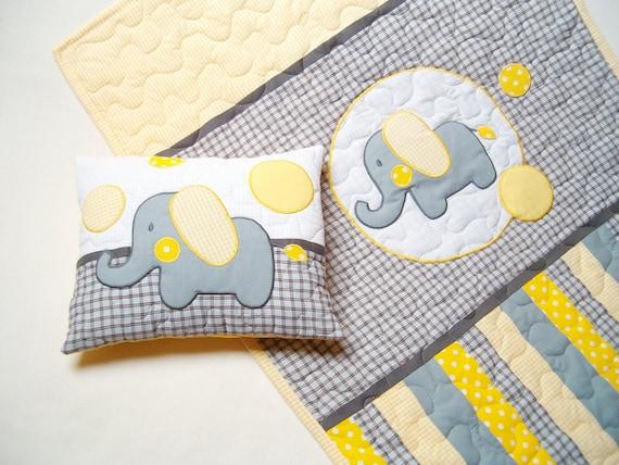 Elephant Blanket in grey, yellow and white, Elephant Pillowcase
