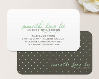 Polka Dots Business Card / Calling Card / Mommy Card / Contact Card - Interior Designer, Event Planner, Calling Cards, Business Cards