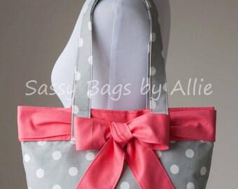 Grey Polka Dot Handbag with Pink Bow-Medium Twill Purse-Premier Prints Polka/Storm