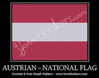 Austrian National Flag - Afghan Crochet Graph Pattern Chart by Yarn Hookers
