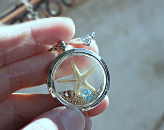 Real Seastar Double-sided Glass Locket, Starfish Necklace, Sea Star Necklace, Summer Jewelry, Floating Locket, Beach Wedding, Nature Jewelry