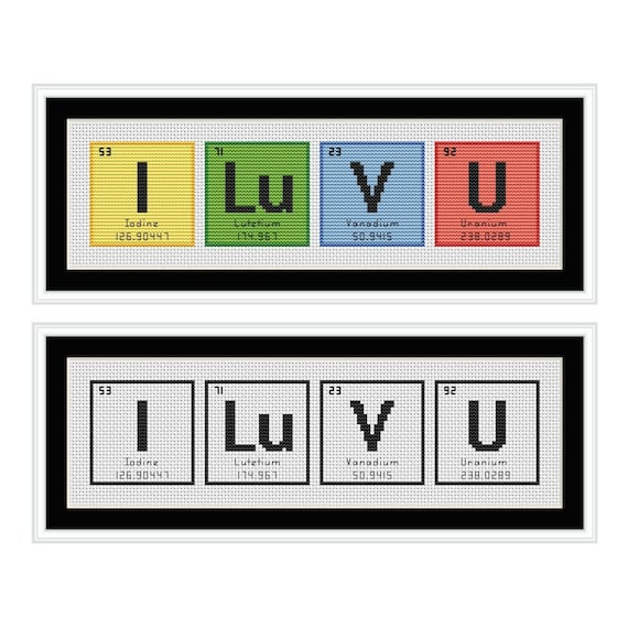 I love you periodic table chemical element cross stitch chart urtaz Gallery