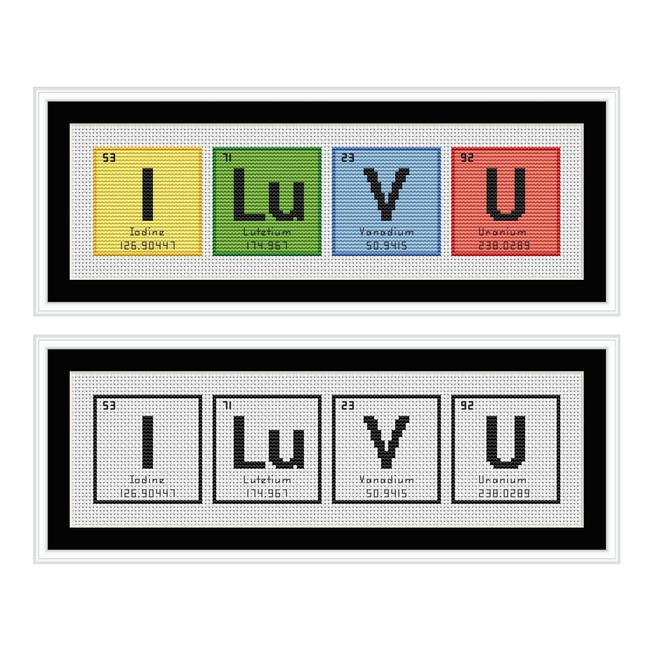 I love you periodic table chemical element cross stitch chart from i love you periodic table chemical element cross stitch chart gamestrikefo Image collections