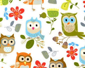 Timeless Treasures fabric OWLS on White