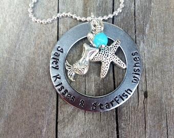 Handstamped Washer Beach Necklace