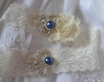 Wedding Garter , Bridal Garter Set , Ivory Lace Garter,Garter Set, Shabby Chiffon With Sapphire Pearl Garter Set