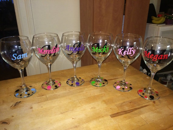 Custom Monogram Vinyl Wine Glass Decals Bridal Party - Vinyl decals for drinking glasses