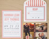 Modern Coral Wedding Invitation Sample