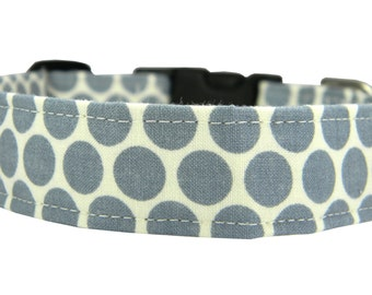ON SALE Ready to SHIP- Dog Collar, Gray Dots Dog Collar, Pet Collar: Charcoal Dots