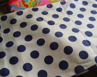 Vintage White and Navy Blue Polka Dot Cotton Fabric, 2 yards