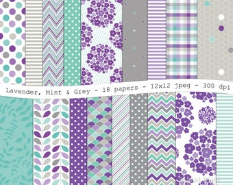 Lavender Mint Grey digital scrapbooking paper pack -18 printable jpeg papers, 12x12, 300 dpi - instant download