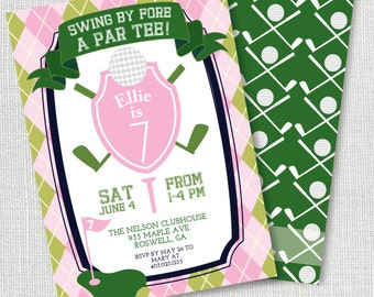 girls golf pink and green preppy birthday party invitation