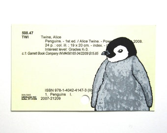 Baby Penguin Library Cart Art - Print of my painting of a baby penguin on a library card for the book Penguins