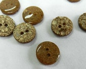 Vintage 8  Small Gold sparkle look Plastic 2 hole button (414-37)